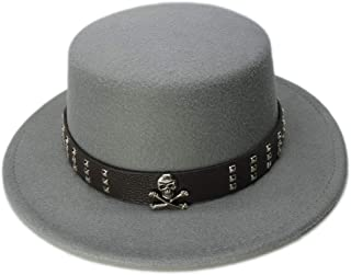 PengCheng Pang Kid Children Vintage 100% Wool Wide Brim Top Cap Pork Pie Pork-Pie Bowler Hat Skull Bead Leather Band (54cm/Adjust) (Color : Gray, Size : 54cm)