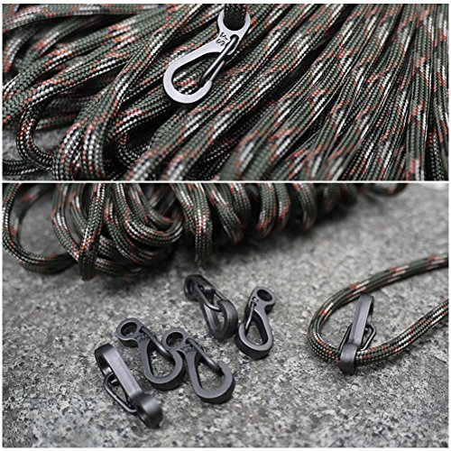 QLOUNI Mini Carabiner Clips Paracord Keychain, 10PCS Spring Snap Hook Lightweight Lock Hook Paracord Clasps for Backpack Bottle EDC Outdoor Tactical Survival Gear Pet Accessory