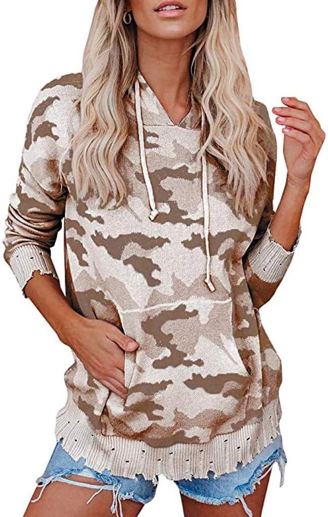 Kaifongfu Excellence Women's Camouflage Hoodie Tops Long Sweatshirts mart Loose