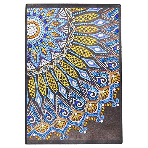 Cuaderno A5 de punto de cruz 5D con diseño de diamantes, , cuaderno de notas para escribir para mujeres, bloc mandalas, diario niña pequeño con diamantes regalo creativo,60 hojas, 120 páginas
