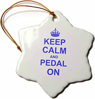 3dRose ORN_157646_1 Keep Calm and Pedal on Blue Motivational Motivating Carry on Biking Cycling Bicycle Snowflake Ornament, Porcelain, 3-Inch