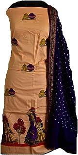 KATHIWALAS Women's Cotton Silk Kutch Work Bandhani/Bandhej Unstitched Dress Material Suit (PEACH DARK PURPLE, Free Size)