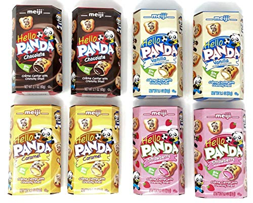 Meiji Hello Panda Cookies Variety Pack of 4 flavors (Chocolate, Vanilla, Strawberry, Caramel) (2 of each, total of 8)