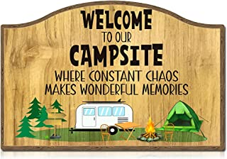 """SICOHOME Funny Camping Signs,8"""" X 12"""" Welcome to Our Campsite Sign,Camping Decor for Camper, Capmer Decor Sign, Camper/Cam..."""