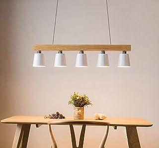 ZMH Lámpara Colgante Comedor Iluminación Interior Araña de Techo de Metal y Madera Altura Ajustable con 5 bombillas 3W (incluidas) Blanco Cálido para Comedor/Salón/Cafetería (blanco)