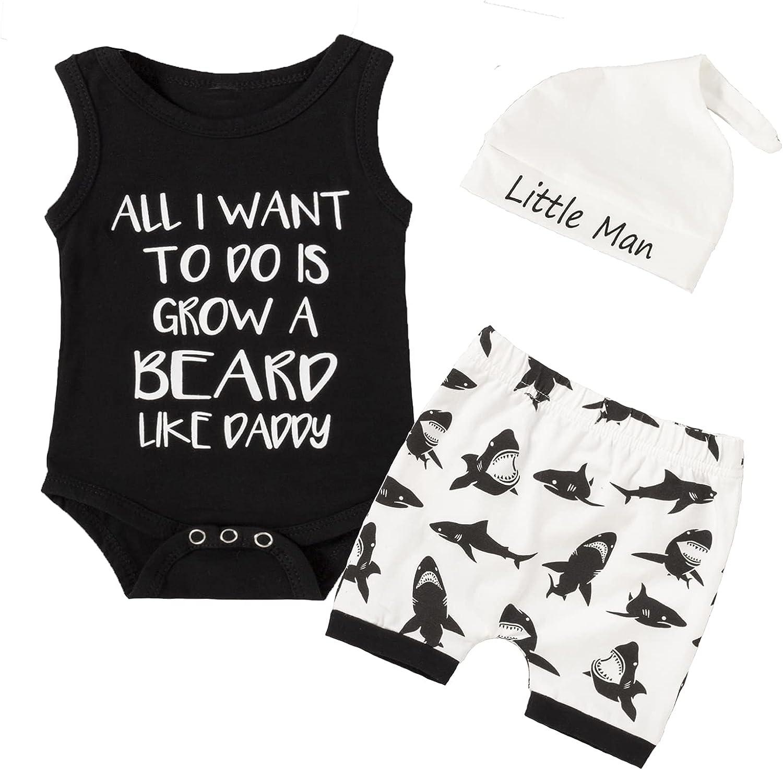 Newborn Boy Outfits Shark Black Short Sleeve Romper+Short+Hat Baby Boy Clothes