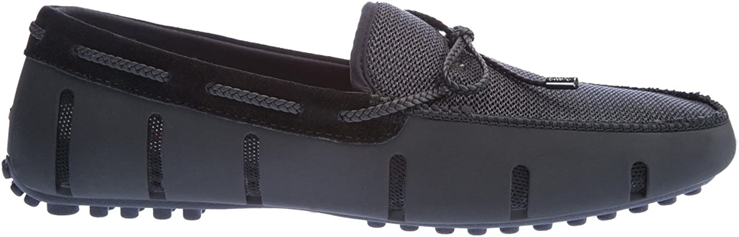 Swims Braided Lace Lux Loafer Driver shoes in Black Graphite 12