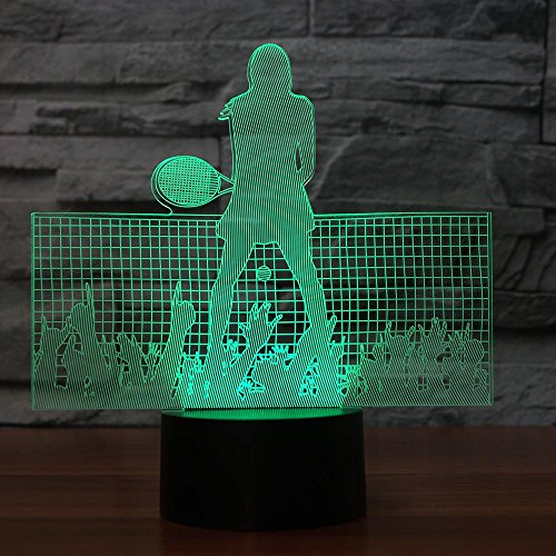 3D Led Night Light 7 Cambio de Color USB Tenista Modelo Niños Niños Regalo Bebé Dormir Iluminación Deportes USB Lámpara de Escritorio
