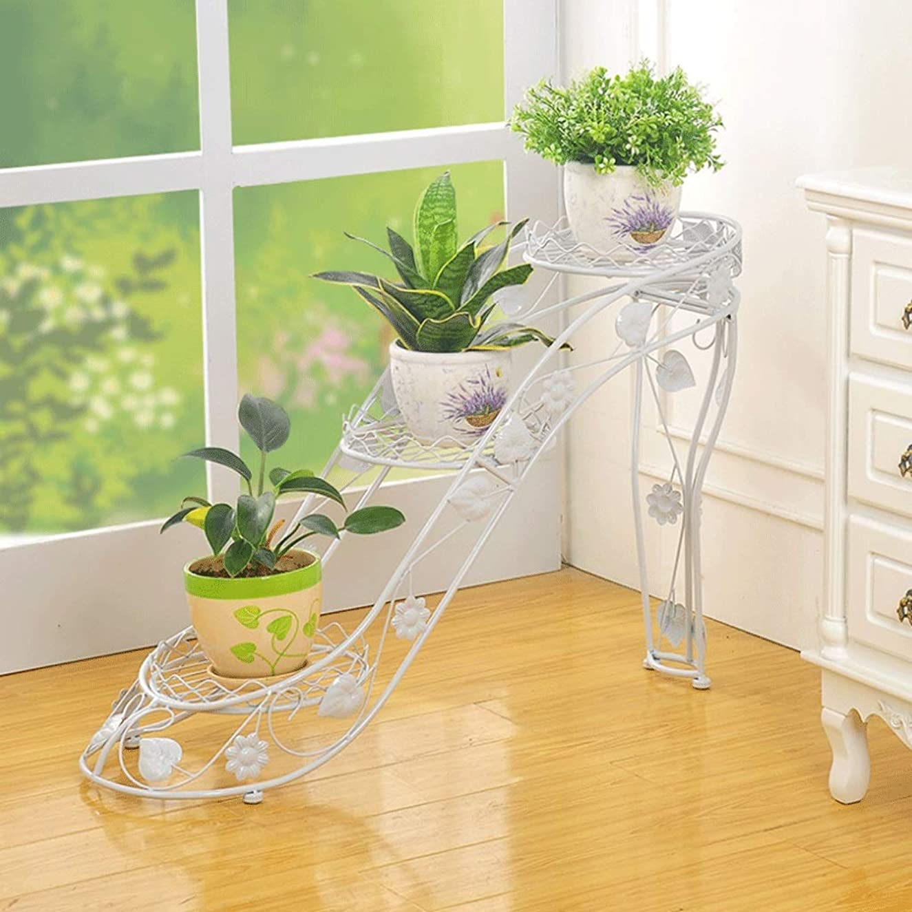 ZHPRZD Flower Stand Flower Rack Multi-Layer Wrought Iron Flower Pot Rack High Heels Decorative Frame Multi-Layer Pot Rack Display Stand 25x66x54cm Flower Rack (Color : White)