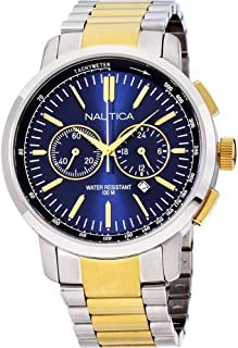 Nautica Men's 45mm Two Tone Steel Bracelet Steel Case Quartz Watch A23602G