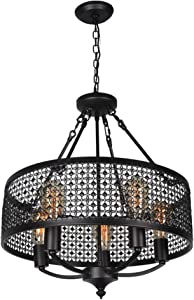 Beuhouz Black Round Industrial Chandelier, Metal Mesh Cage Pendant Light Vintage Dining Room Chandelier 5
