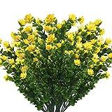 Nirmon Flores Artificiales 10 Paquetes Plantas Resistentes una los Rayos UV Plástico de Imitación para la Caja de la Ventana del Patio Plantador Colgante Exterior Decoración del Jardín