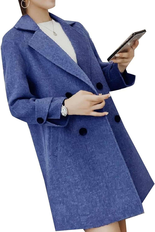 Doanpa Women's Trench Outwear Notch Lapel Woolen Double Breasted Peacoat
