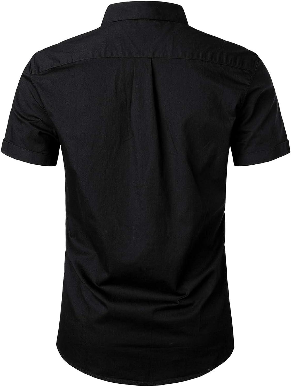 PARKLEES Mens Summer Casual Short Sleeve Cotton Denim Plain Solid Shirts