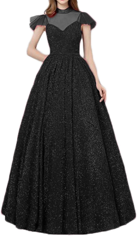 Alilith.Z Bling Bling Illusion Prom Dresses 2019 Princess High Neck Short Sleeve Long Glitter Formal Evening Dresses for Women Black