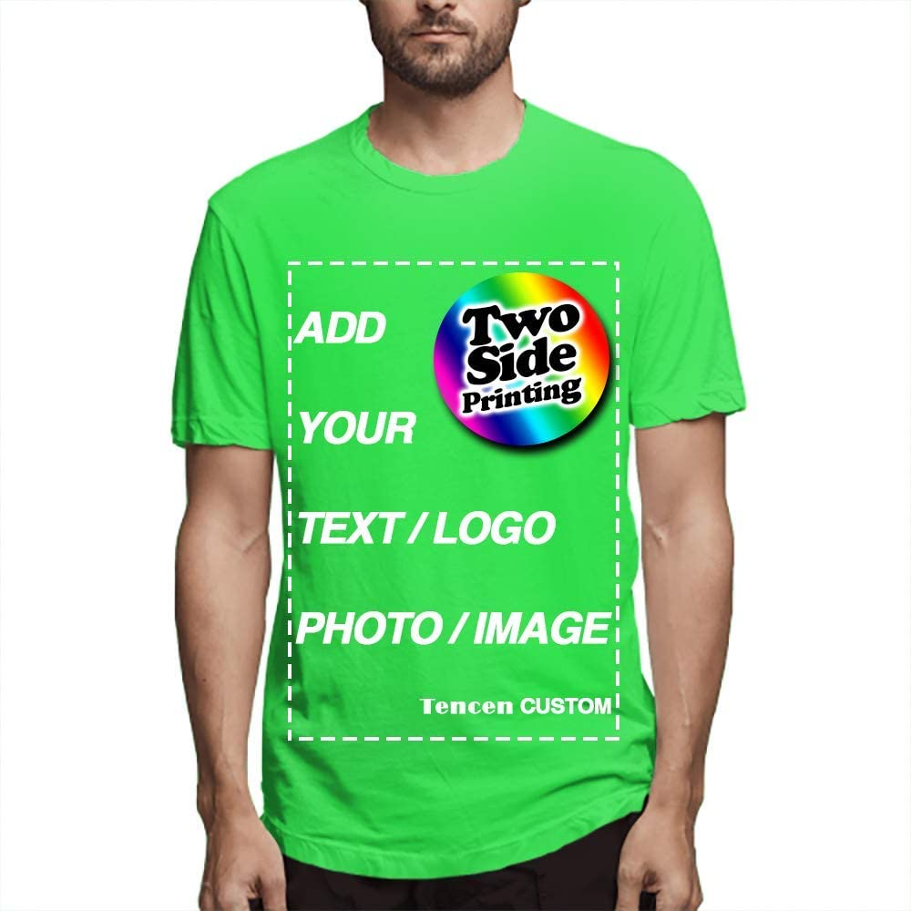 Tencen Custom T-Shirt Design Your Own Text Image Logo Photo 2 Side All Over Print Back Neon