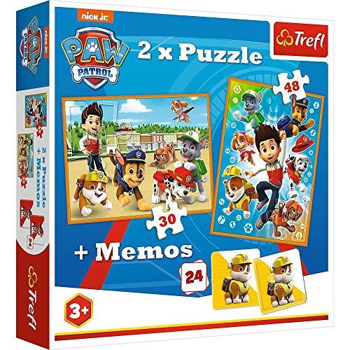Brandsseller 2 in 1 Kinder Spiel Set 2 x Puzzle - 1 x Memory mit Motiven im Stil von Paw Patrol