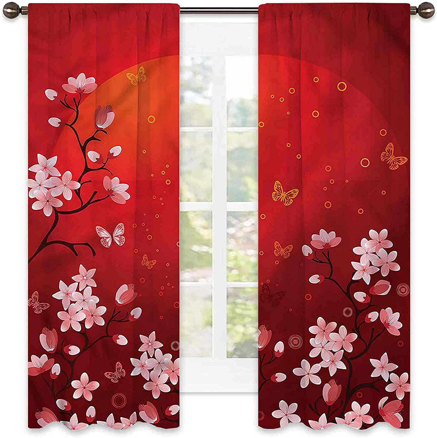 Red 90% Blackout safety Curtains Abstract Sunset Sakura for and Bedro Los Angeles Mall