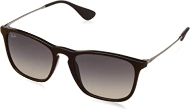 RAY-BAN RB4187 Chris Square Sunglasses, Black Red/Grey Gradient, 54 mm