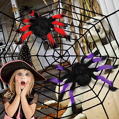 balnore Halloween Grusel Deko Set, Riesen Spinnennetz mit 2 Große Spinnen Dekorationen Indoor Outdoor Spukhaus Dekor