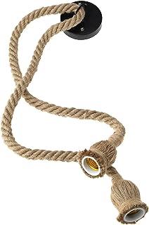 ENET Lámpara colgante de techo E27 con doble cabeza de cuerda de cáñamo, 1,5 m, 2 unidades