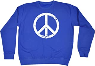 123t Funny Novelty Funny Sweatshirt - Peace Sign - Sweater Jumper