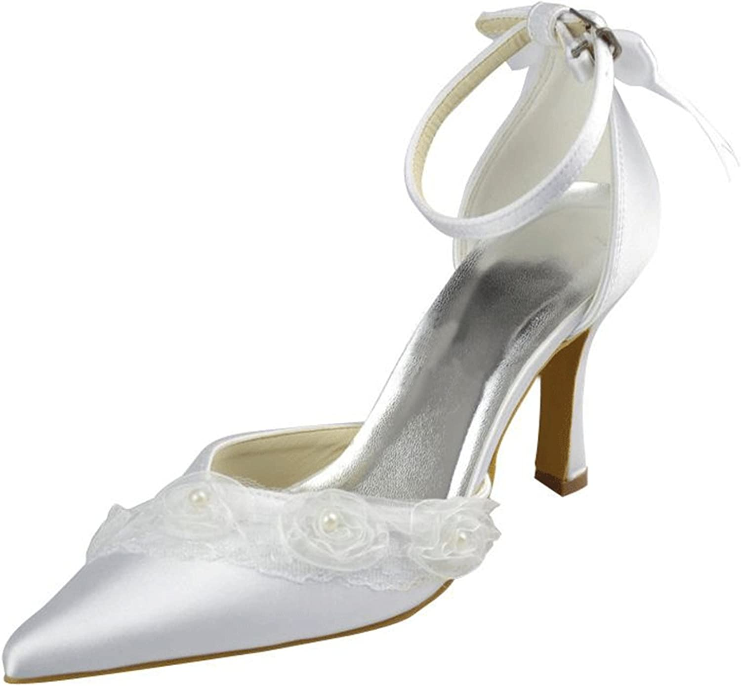 Kevin Fashion MZ1242 Women's Flowers Satin Bridal Wedding Formal Party Evening Prom Pumps shoes