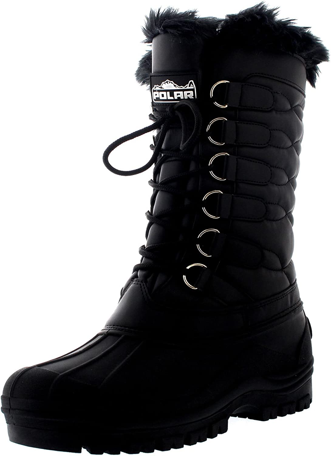 Polar Womens Mid Calf Thermal Rain Muck Waterproof Quilted Nylon Boot - Black - US11 EU42 - YC0332