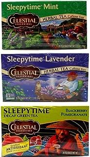 Celestial Seasonings Sleepytime Tea 3 Flavor Variety Bundle, 1 Each: Mint, Lavender, Blackberry Pomegranate (20 Count)