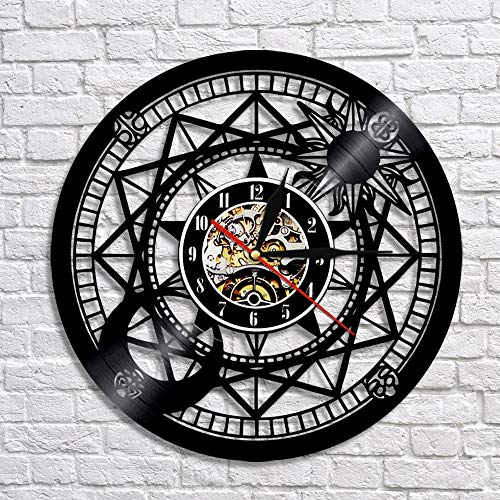 wtnhz LED-Astronomía Astrología Arte Disco de Vinilo Reloj de Pared 3D Reloj de Pared Retro Antiguo Reloj de Pared Diseño Moderno Decoración de Arte de Pared