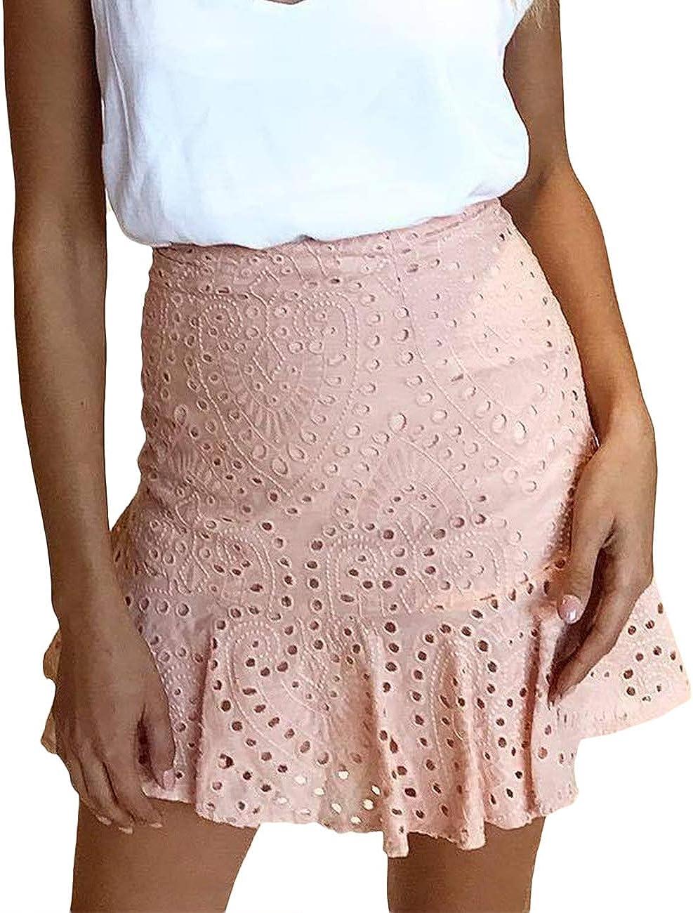 SEMATOMALA Womens Wear to Work Lace Mermaid Fishtail Ruffle Hem Pink Back Zip Up Bodycon Pencil Mini Skirt