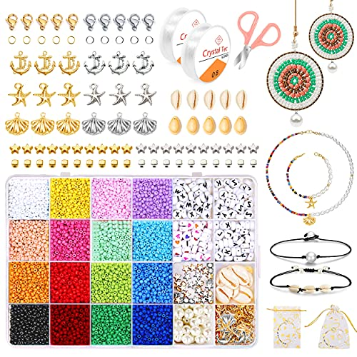 Cuentas de Colores y Uentas de Letras, 3mm Mini Cuentas de Cristal Conjunto, Para DIY Pulseras Collares Bisutería, Cuentas para Collares, Llaveros, Complementos de Vestir, Regalo para Ninas