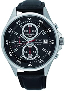 Seiko Mens Chronograph Quartz Watch with Leather Strap SKS635P1