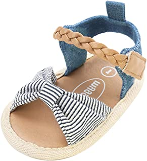 bb5fc931e Isbasic Baby Girls Sandals Bohemia Flower Bow Soft Sole Toddler First  Walkers Beach Summer Shoes