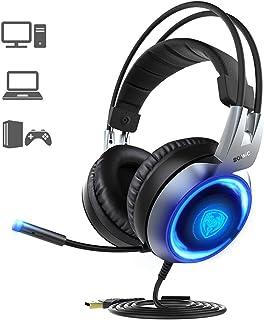 SOMIC G951 Fone de ouvido USB para jogos de som estéreo para PC, PS4, laptop, com graves de vibração, microfone e luzes LE...