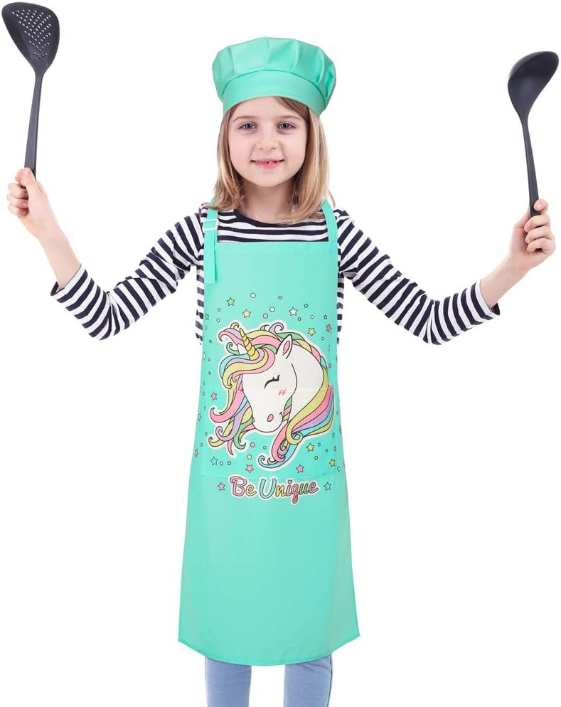 Adjustable Strap with 2 Pockets Play Tailor Unicorn Apron for Girls 3-12 Years Kids Cooking Baking Aprons and Chef Hat Set