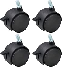 Gizhome 4 Pack 1.5 Inch Nylon Plastic Replacement Caster Swivel Furniture Wheels Floor Protecting Office Chair Swivel Caster Threaded Stem 5/16