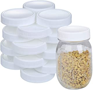 2 Dozen Regular Mouth Lids Mason Jar Lids Plastic Storage Caps for Mason Canning Jars and More, Standard, Dia 70mm, White