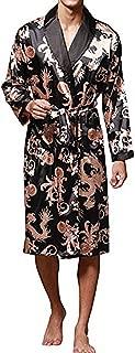 Mens Satin Robe Long V Neck Silk Solid Lightweight Kimono Bathrobe Sleepwear