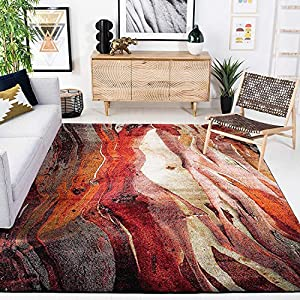 Safavieh Glacier Collection GLA126A Modern Abstract Non-Shedding Stain Resistant Living Room Bedroom Area Rug, 6'7″ x 9′, Red / Multi