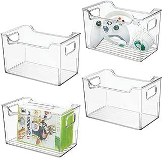 mDesign Plastic Storage Organizer, Holder Bin Box with Handles - for Cube Furniture Shelving Organization for Closet, Kid's Bedroom, Bathroom, Home Office - 10