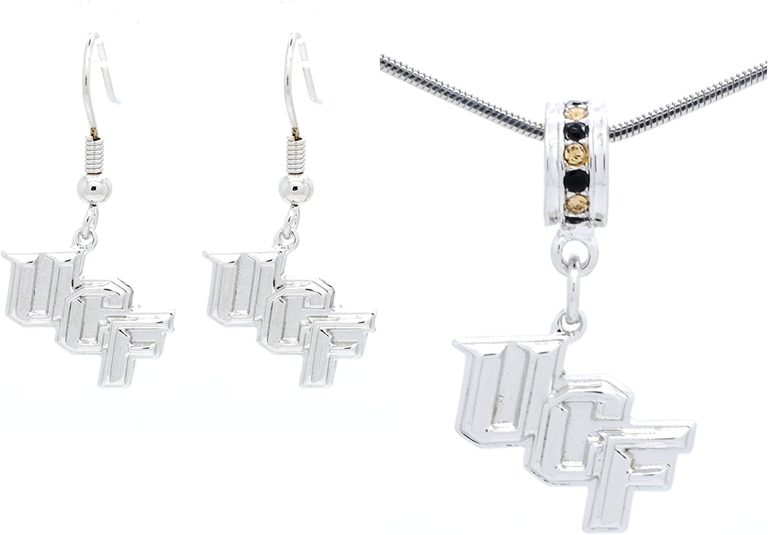 Violet Victoria & Fan Star UCF Knights Pendant Necklace and Earring Set CAN Also BE Used AS A Bracelet Charm