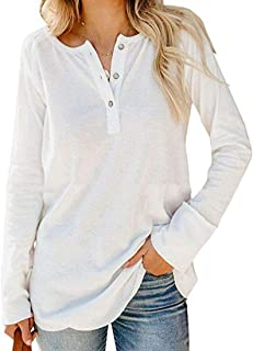 Women's Casual Knit Blouse Tops Loose Button Up Long Sleeve Henley Shirts