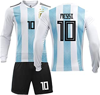 Maillot Argentino de Manga Larga, Uniforme del Equipo Nacional 2018, No. 10 Messi, Jersey, Adulto, niños, Traje de fútbol-M-10