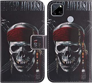 TienJueShi Skull Fashion Stand TPU Silicone Book Stand Flip PU Leather Protector Phone Case For Oppo A15s 6.52 inch Cover ...