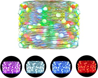 Ollny LED Fairy Lights 33ft 100 LED RGB String Lights Color Changing Copper Wire Lights USB with Remote and Timer Twinkle Lights Waterproof Decoration Firefly Lights Timer Indoor for Christmas Party