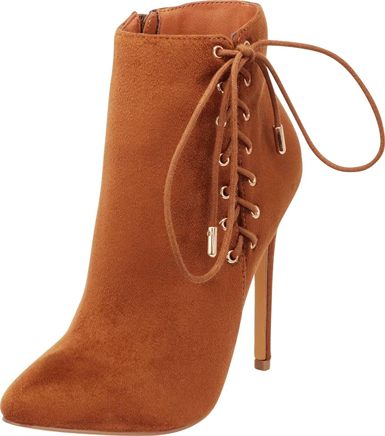 Cambridge Select Women's Closed Pointed Toe Side Corset Lace-up Inner Zip Stiletto High Heel Ankle Bootie
