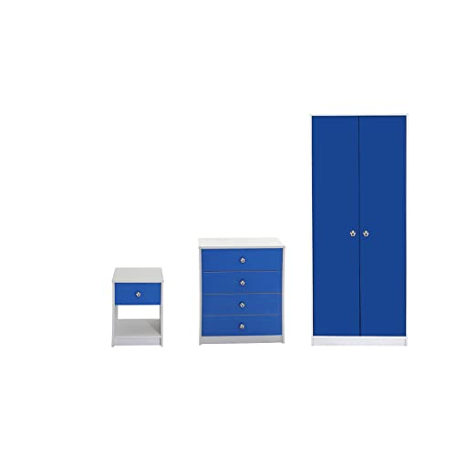 Devoted2Home Rovers Childrens Bedroom Furniture 3 Piece Set White U0026  Blue Includes Wardrobe,