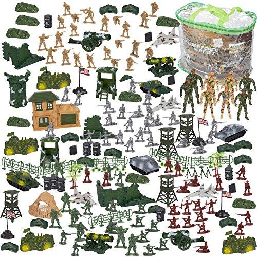 Blue Panda Ensemble de Figurines d'Action armée (Chars d'assaut, Avions, Drapeaux, Outils de Champ de Bataille), Les Petits (300 pièces) Multicolore