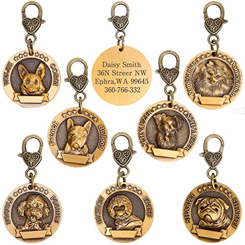 hipidog Dog Tags for Dogs Engraved- Personalized Puppy Tag Matching with 21 Breeds 3D Effect, Premium Copper Tag and Permanently Laser Engraved- Special Unique Tag (French Bulldog)